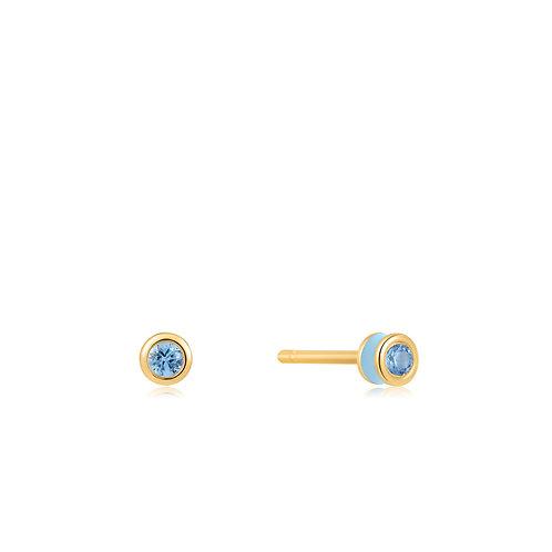E028-01G-B Blue Enamel Gold Stud