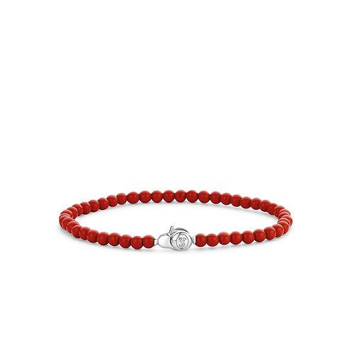 2908CR  Ti Sento zilveren armband met koraalrode kralen
