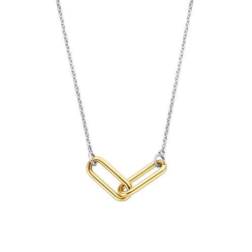 3966SY/42 Ti Sento zilveren collier geelgoud verguld schakel