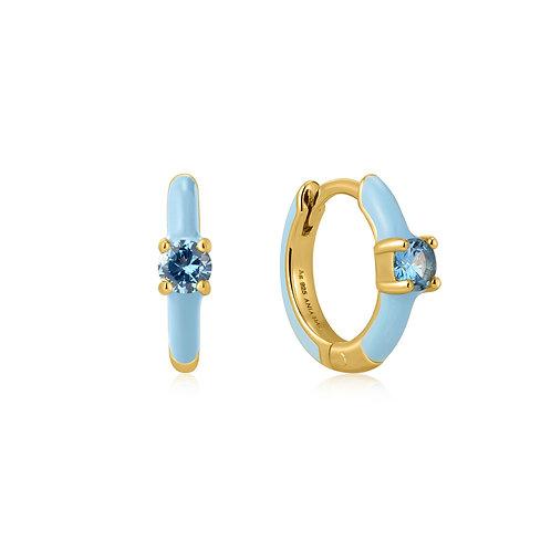 E028-05G-B Powder Blue Enamel Gold Huggie Hoop Earrings