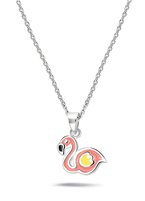 574050 Bellini zilveren collier met hanger roze flamingo