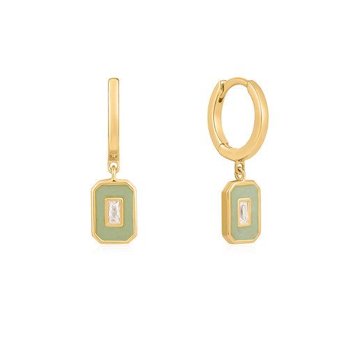 E028-03G-G Sage Enamel Emblem Gold Hoop Earrings