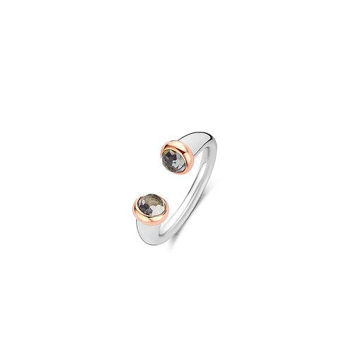12177GB Ti Sento zilveren ring roségoud verguld met grijsblauwe stenen