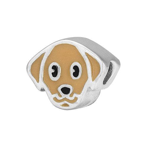 567448 Bellini zilveren bedel emaille hond lichtbruin
