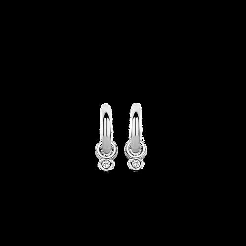 7868ZI Ti Sento zilveren oorringen met zirconia oorbedels