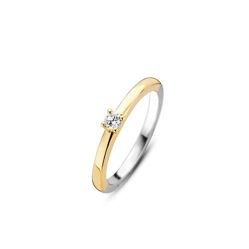 1871ZY Ti Sento zilveren ring geelgoud verguld zirconia
