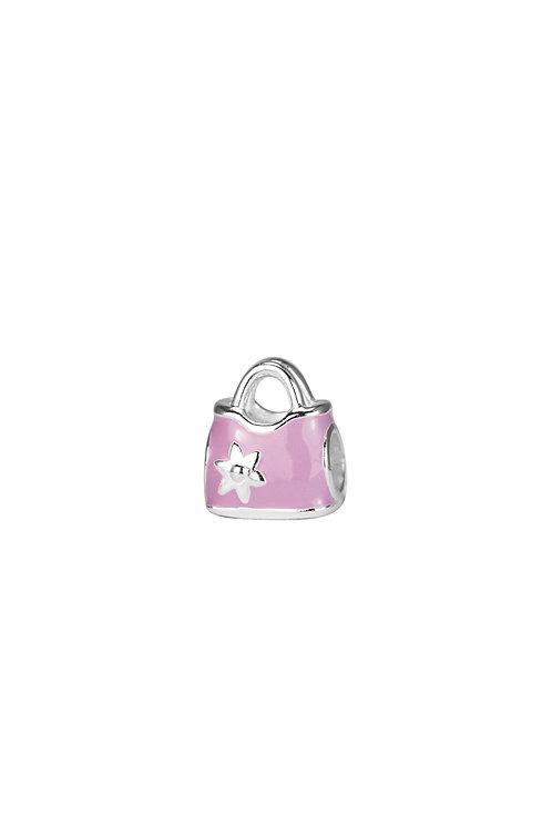 567478 Bellini zilveren bedel handtas roze