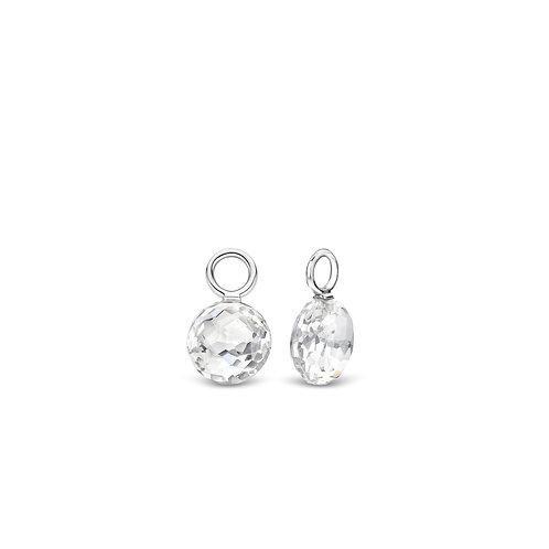 9183ZI Ti Sento zilveren oorbedels met witte crystals