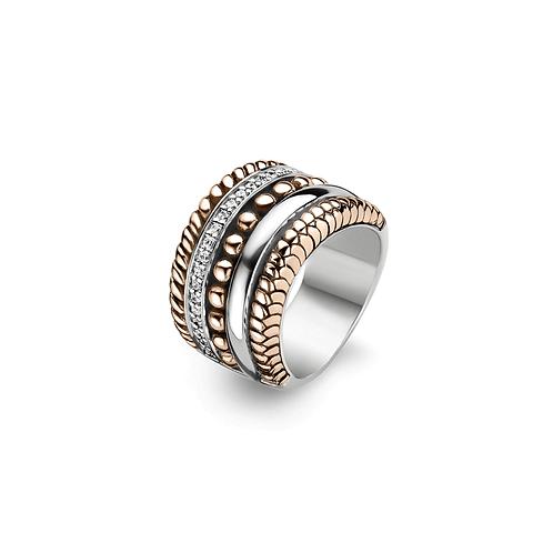 1835ZR Ti Sento zilveren ring roségoud verguld met zirconia