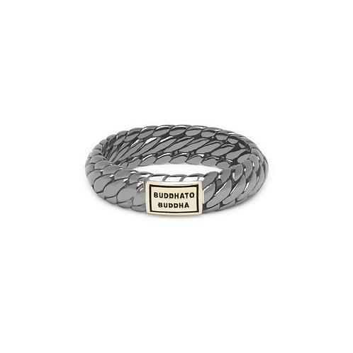 125BRSG Buddha to Buddha Ben XS Ring Black Rhodium Shine Gold 14kt