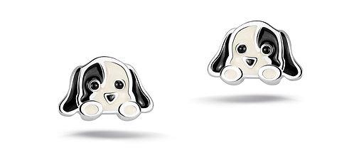 575048 Bellini zilveren oorknoppen hondjes zwart wit