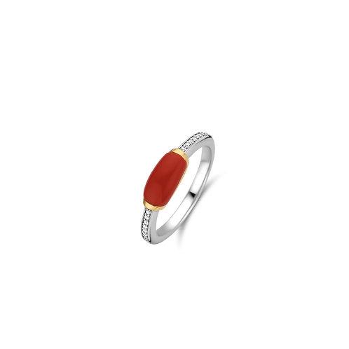 12191CR Ti Sento zilveren ring geelgoud verguld koraalrode steen zirkonia