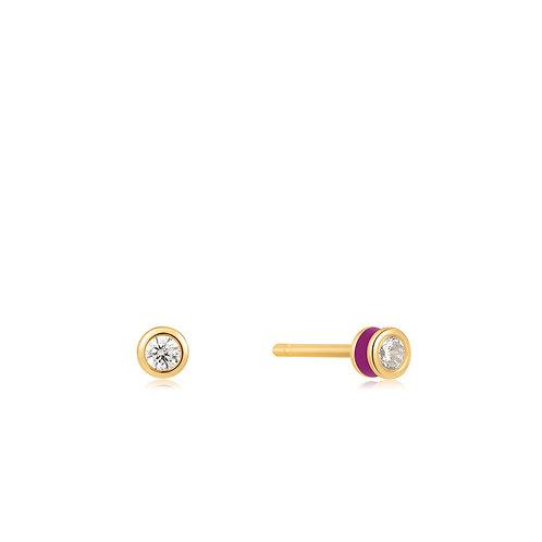 E028-01G-R Berry Enamel Gold Stud