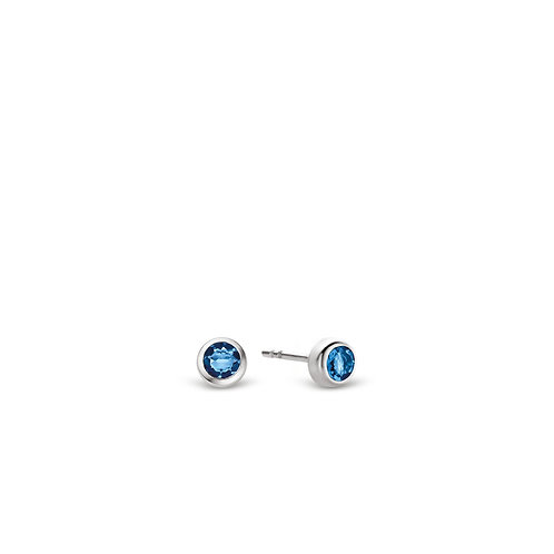 7597DB Ti Sento zilveren oorstekers met blauwe steen