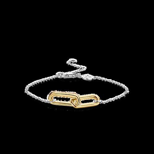 2960SY Ti Sento zilveren armband schakel geelgoud verguld