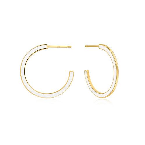 E028-06G-W Optic White Enamel Gold Hoop Earrings