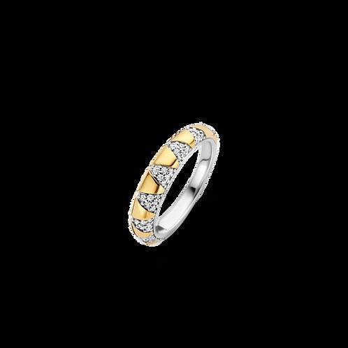 12216ZY Ti Sento zilveren ring geelgoud verguld zirconia