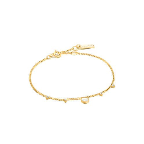 B022-03G Ania Haie Mother of Pearl Drop Disc Bracelet