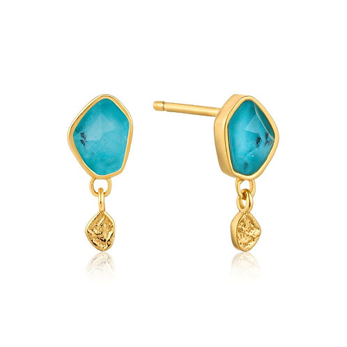 Ania Haie E014-01G Turquoise Drop Stud Earrings