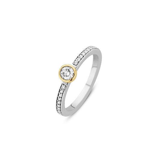 12108ZY Ti Sento zilveren ring geelgoud verguld met zirconia