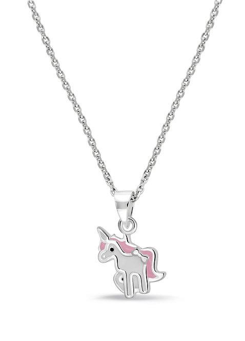 574040 Bellini zilveren collier met hanger eenhoorn