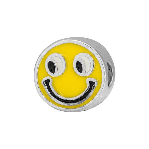 567455 Bellini zilveren bedel emaille smiley geel