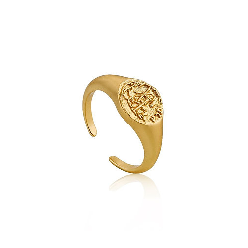 Ania Haie R009-03G Emblem Adjustable Signet Ring S