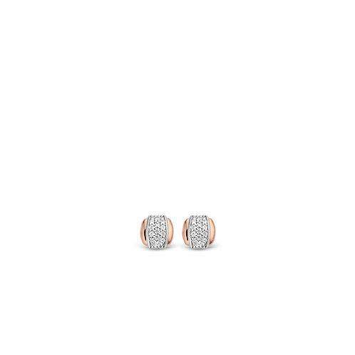 7799ZR Ti Sento zilveren oorstekers roségoud verguld zirconia