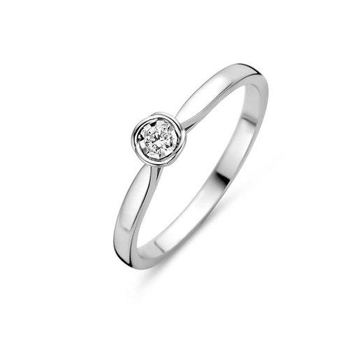 619111 Rosa di Luca zilveren ring briljant 0,06ct
