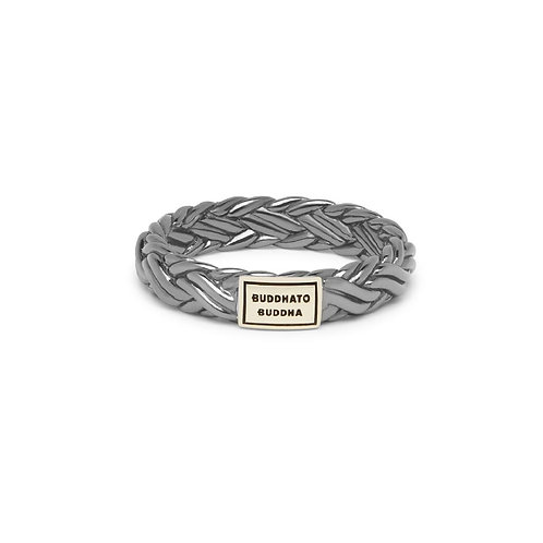 605BRSG Buddha to Buddha Katja XS Ring Black Rhodium Shine Gold 14kt