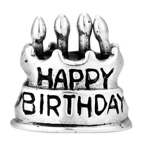 562420 Bellini zilveren bedel taart Happy Birthday