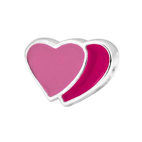 567446 Bellini zilveren bedel emaille hart licht-donker rose
