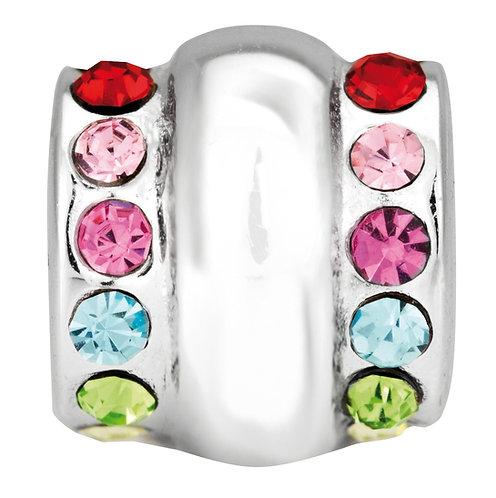 564407 Bellini zilveren zir bedel fantasie multicolor