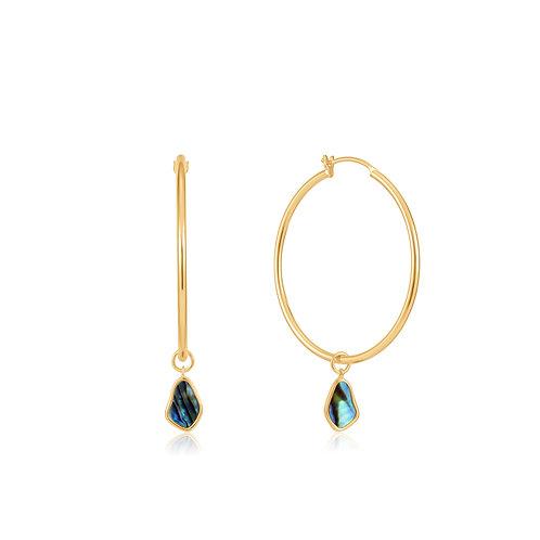 E027-05G Ania Haie Tidal Abalone Drop Hoop Earrings