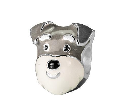 567469 Bellini zilveren bedel emaille hond grijs wit