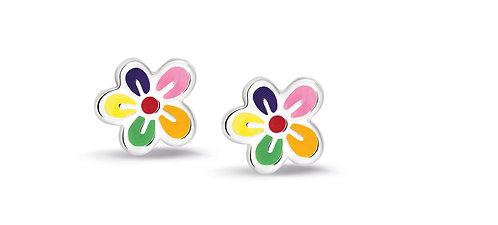 575028 Bellini zilveren oorknoppen emaille bloem emaille