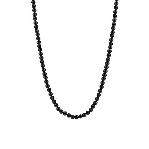 3916BO/42 Ti Sento zilveren collier met zwarte onyx kralen