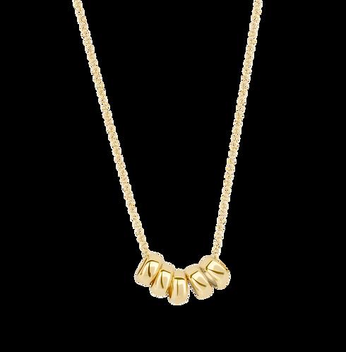 Blush gouden collier met 5 ringetjes 3087YGO