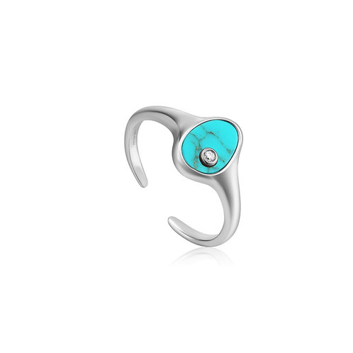R027-01H Ania Haie Tidal Turquoise Adjustable Signet ring