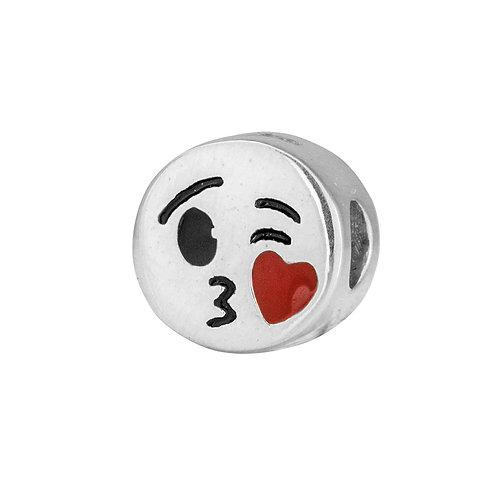 567454 Bellini zilveren bedel emaille smiley kus rood hart