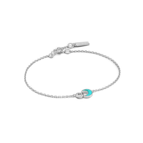 B027-03H Ania Haie Tidal Turquoise Crescent Link Bracelet