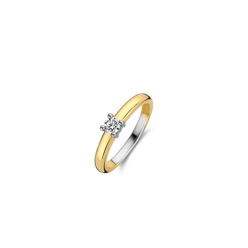 12212ZY Ti Sento zilveren ring geelgoud verguld zirconia