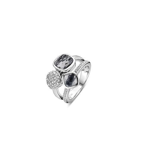 12182GB Ti Sento zilveren ring met zirconia en grijs blauwe stenen