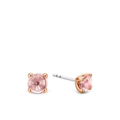 7768NU Ti Sento zilveren oorstekers roségoud verguld roze crystals