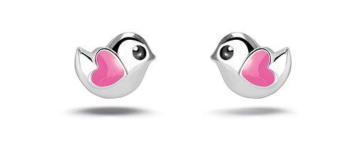575049 Bellini zilveren oorknoppen vogeltjes roze hartje