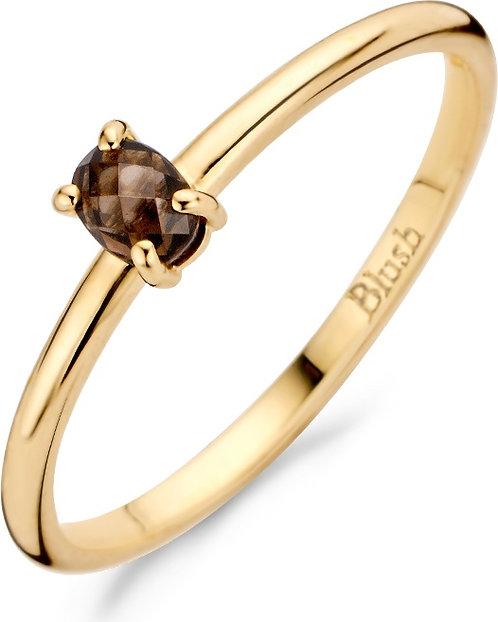 1204YSQ Blush ring geelgoud smokey quartz