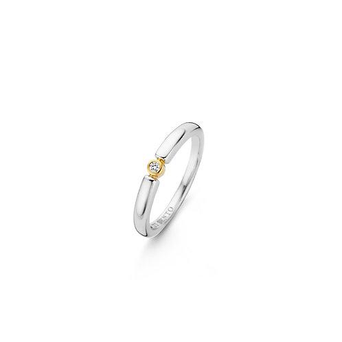 12150ZY Ti Sento zilveren ring geelgoud verguld met zirconia