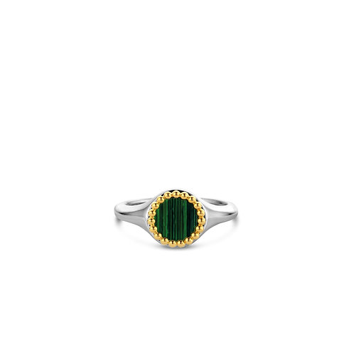 12207MA Ti Sento zilveren ring geelgoud verguld met malachiet