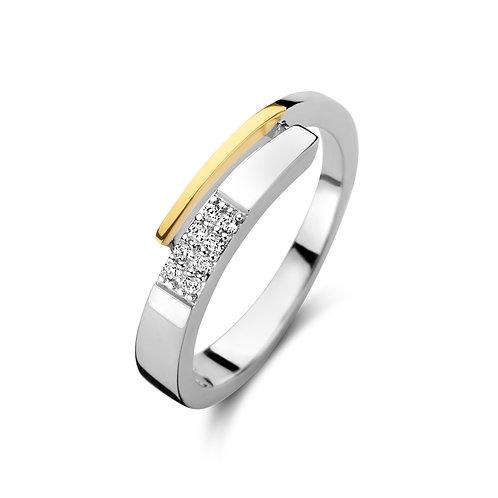 629678 Rosa di Luca zilveren ring geelverguld zirconia