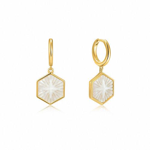 E030-04G Ania Haie Compass Emblem Gold Huggie Hoop Earrings
